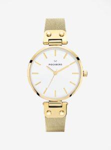 Dámske hodinky v zlatej farbe s antikorovým remienkom MOCKBERG Livia