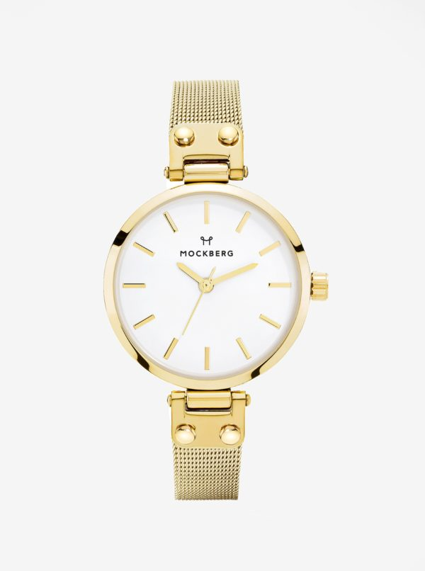 Dámske hodinky v zlatej farbe s antikorovým remienkom MOCKBERG Livia Petite