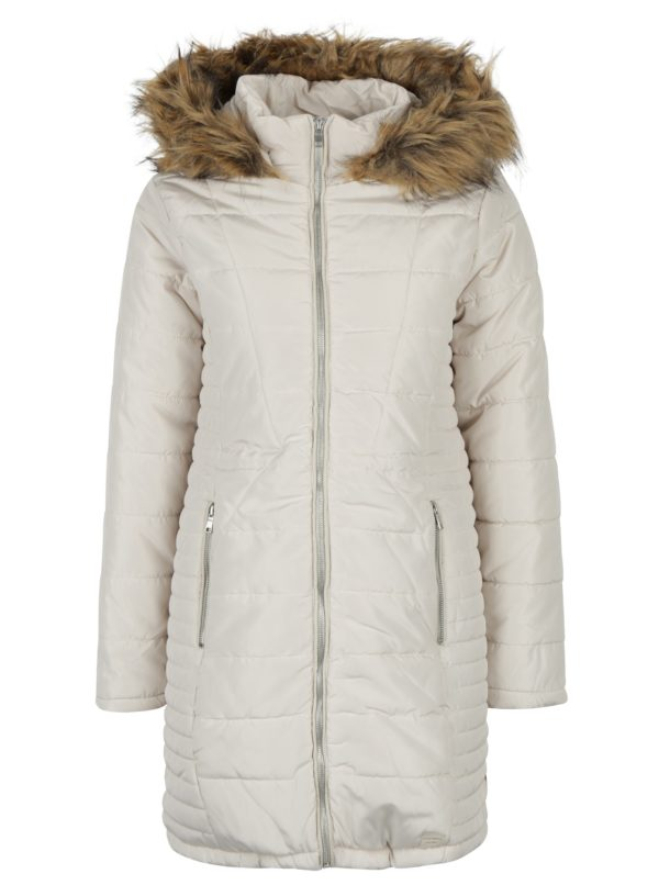 Krémový prešívaný kabát s umelou kožušinou VERO MODA Fast