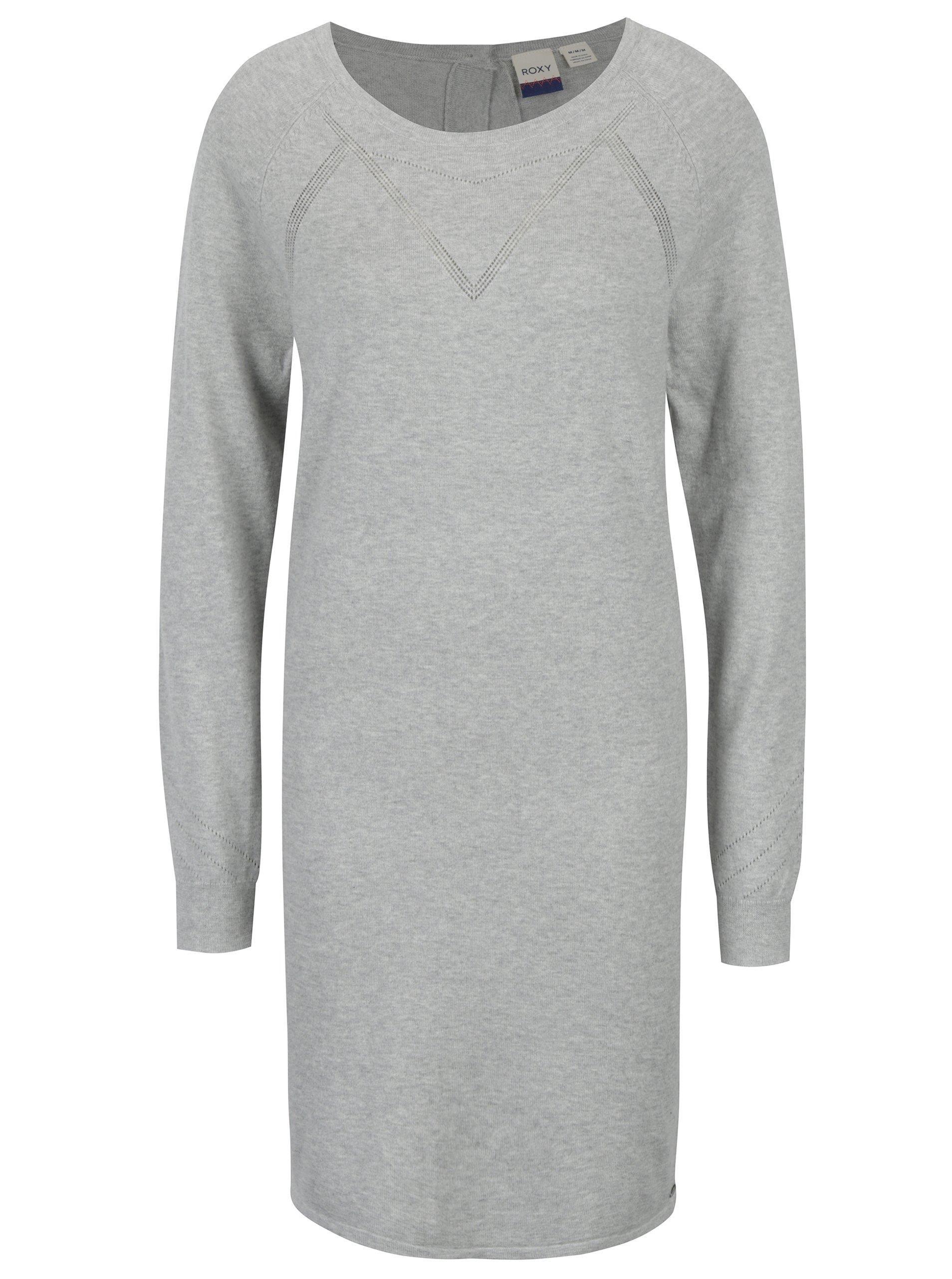 a6f8e461acc6 Sivé dámske melírované svetrové šaty Roxy Winter Story