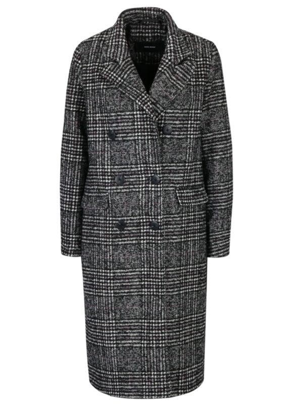 Čierno-biely károvaný kabát s prímesou vlny VERO MODA Higland
