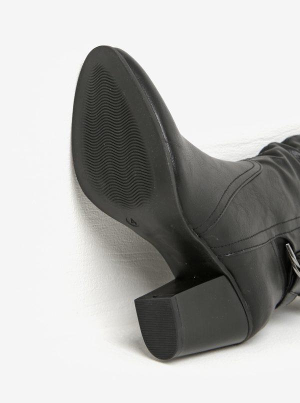 Čierne nízke čižmy na podpätku s prackami Dorothy Perkins