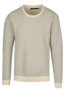 Sivo-krémový vzorovaný sveter SUIT Ingolf