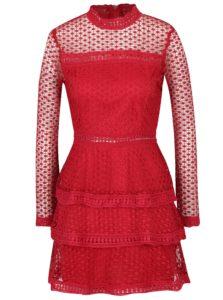 Červené šaty s volánmi a dlhým rukávom AX Paris