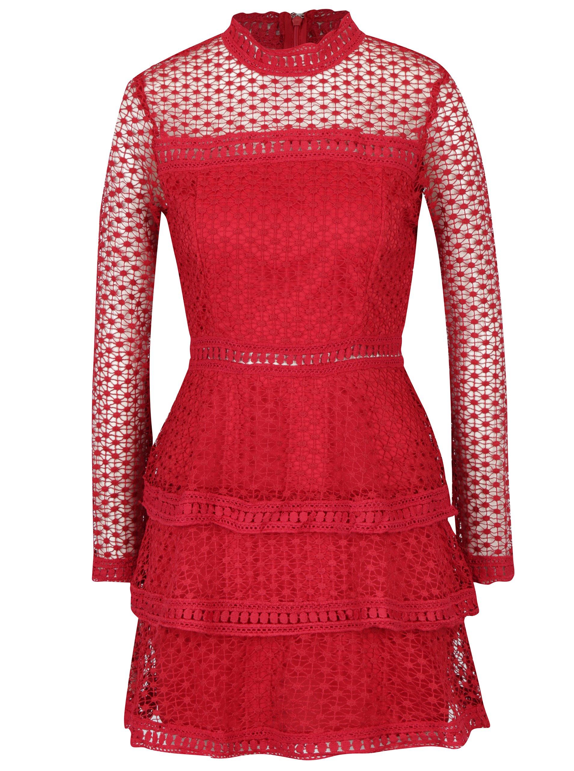Červené šaty s volánmi a dlhým rukávom AX Paris  0c9ac5c7ca9