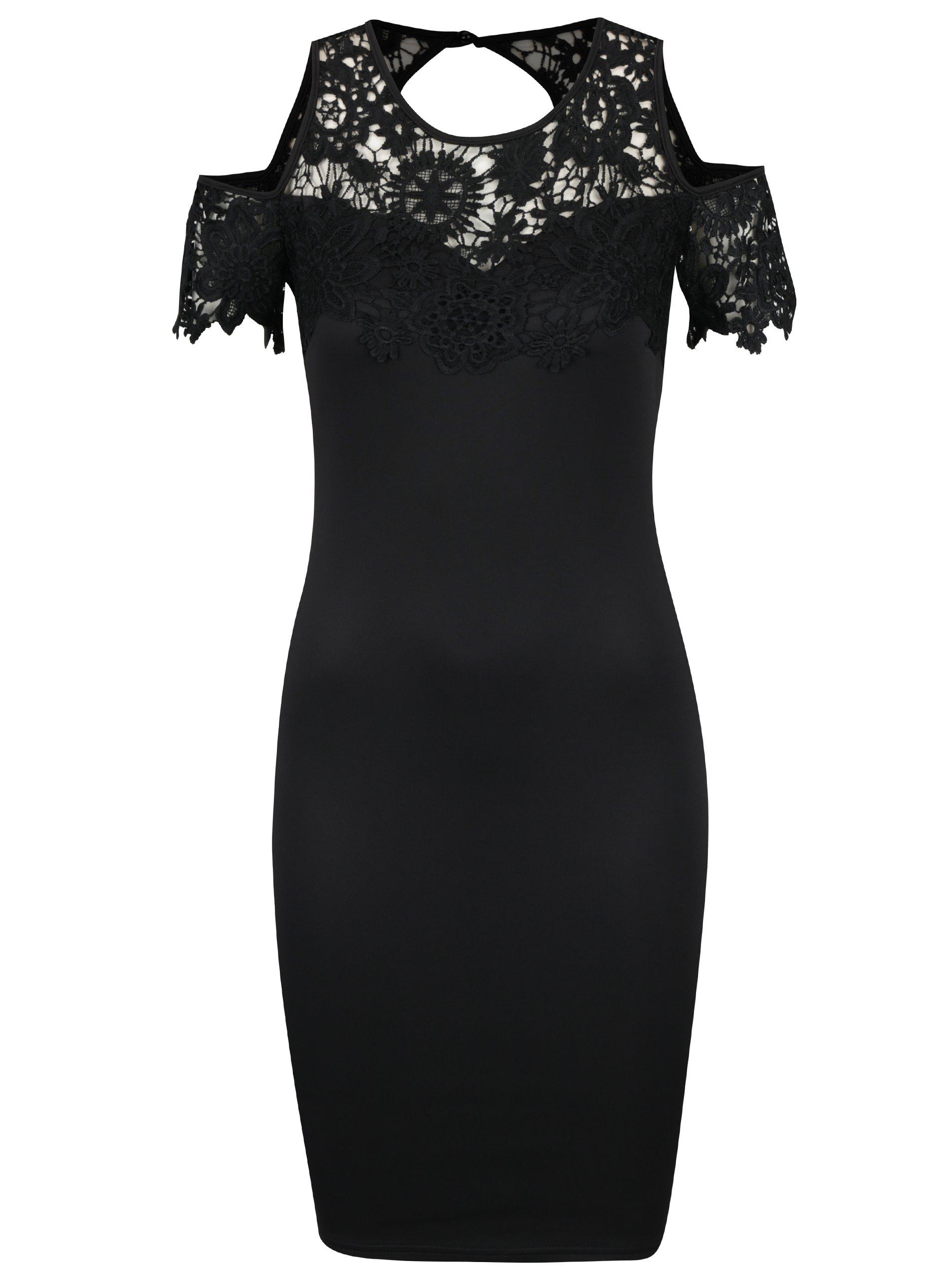 Čierne puzdrové šaty s prestrihmi na ramenách AX Paris  c297f23fc0a