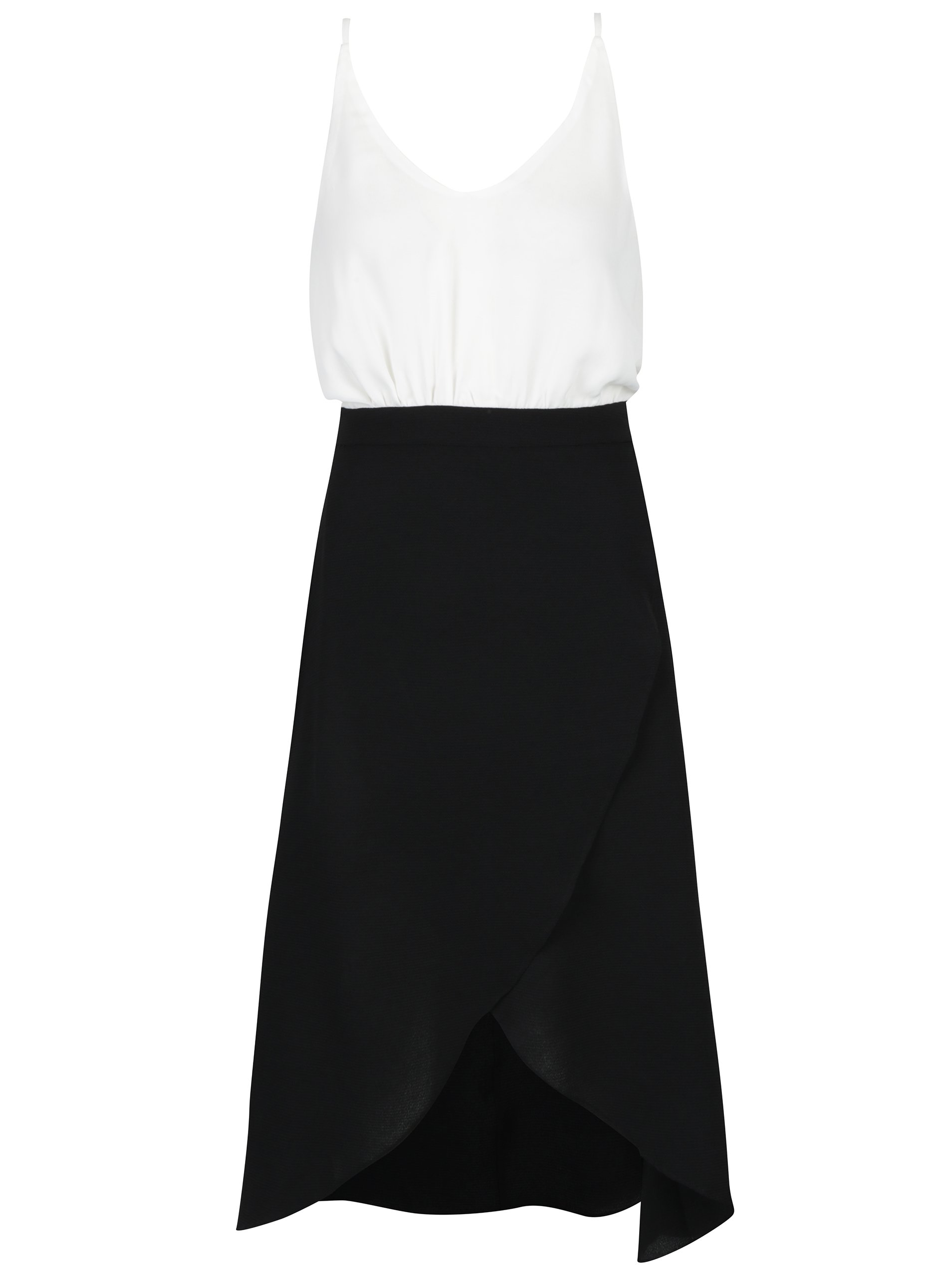 05adfa493aa4 Bielo-čierne šaty s prekladanou sukňou a opaskom AX Paris