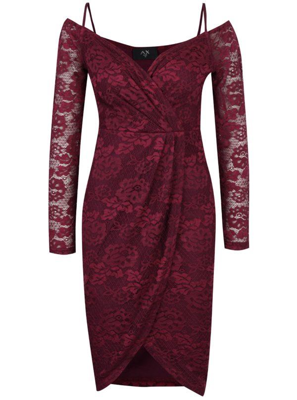 Fialové čipkované puzdrové šaty AX Paris