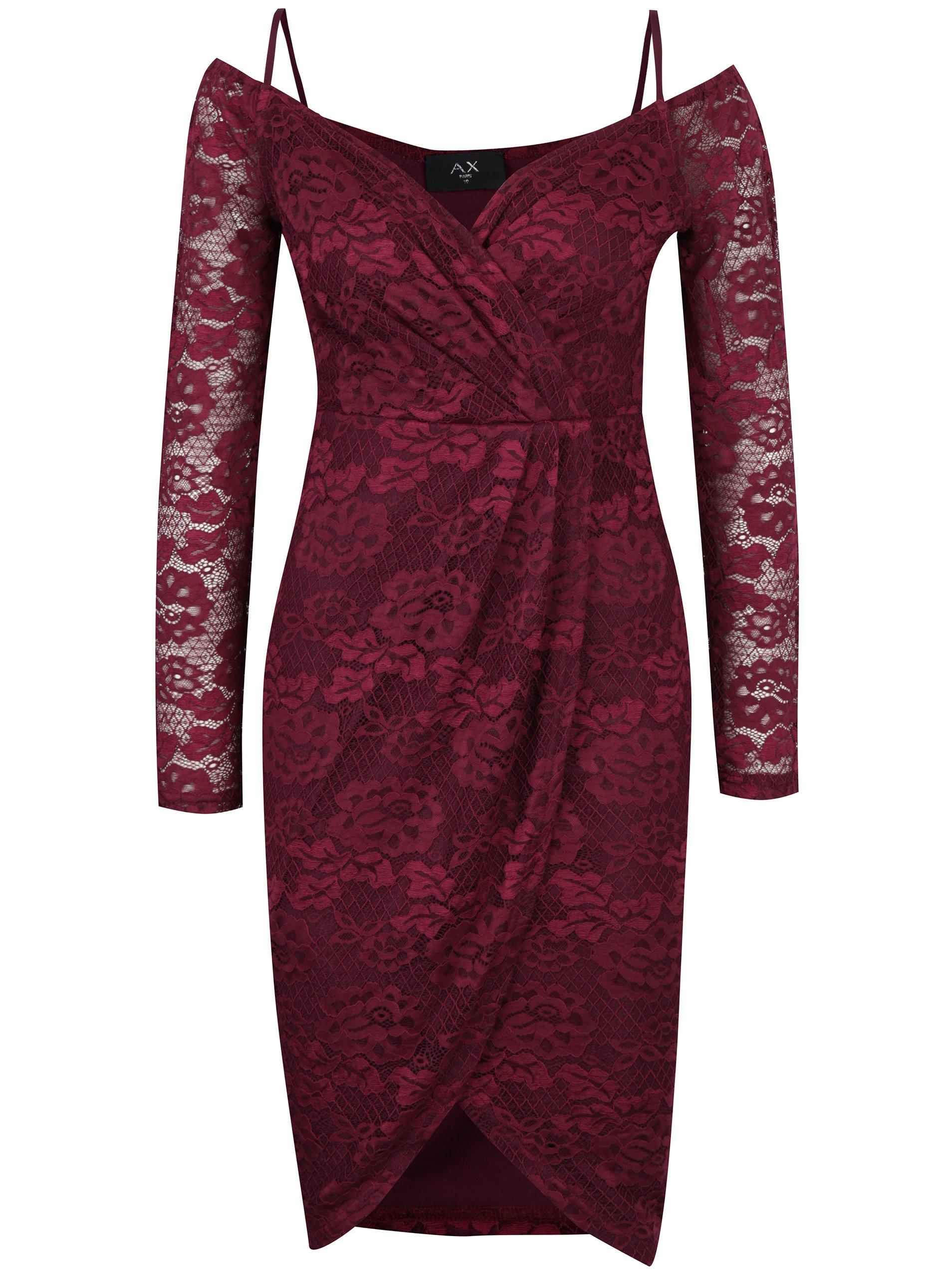 Fialové čipkované puzdrové šaty AX Paris  01c9bdaacf7