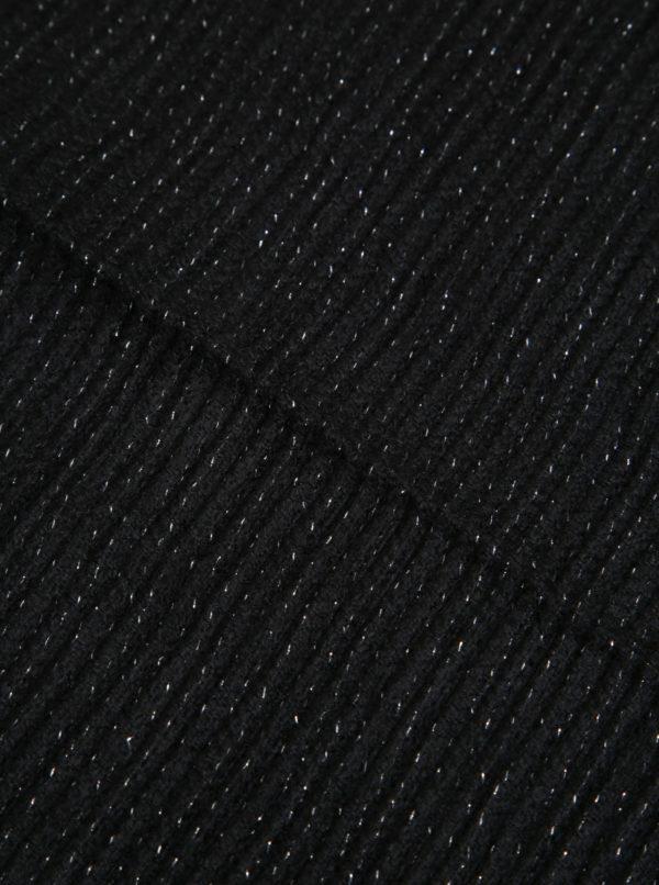 Čierny dámsky plisovaný šál so striebornými vláknami Pieces Roxan
