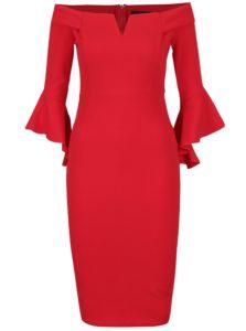 Červené puzdrové šaty s odhalenými ramenami AX Paris