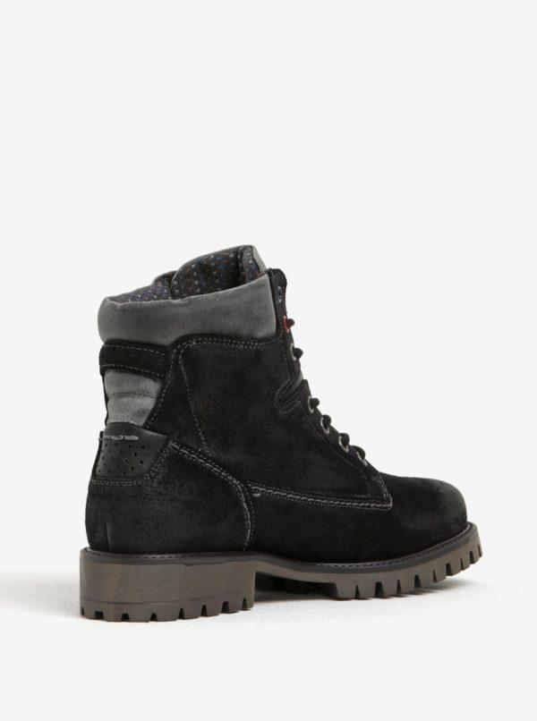 Čierne členkové semišové topánky U.S. Polo Assn.