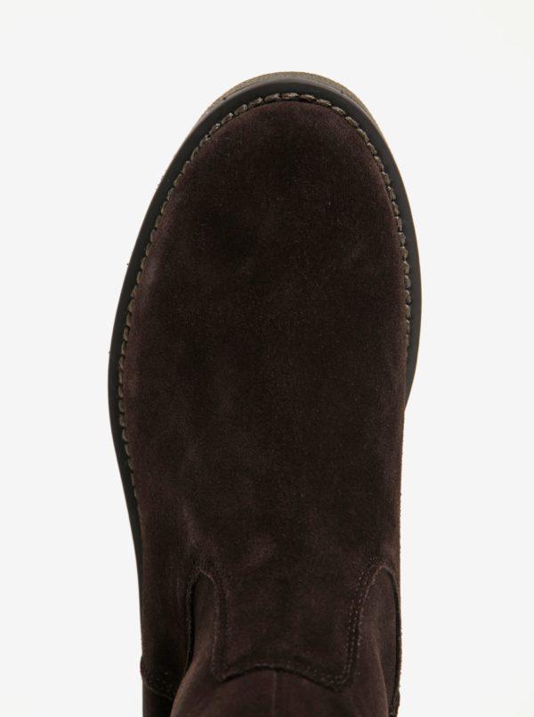 Hnedé semišové vysoké čižmy U.S. Polo Assn.