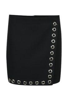 Čierna krátka sukňa s kovovými detailmi Fornarina Mess