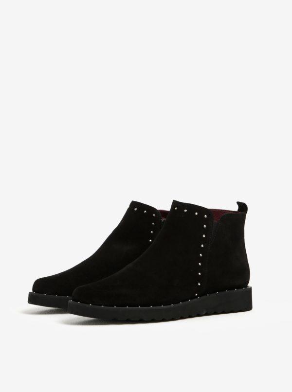 Čierne semišové členkové topánky OJJU