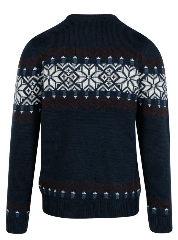 Tmavomodrý slim fit sveter s nórskym vzorom a prímesou vlny Blend