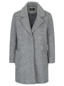 Sivý melírovaný kabát s prímesou vlny ONLY Mary