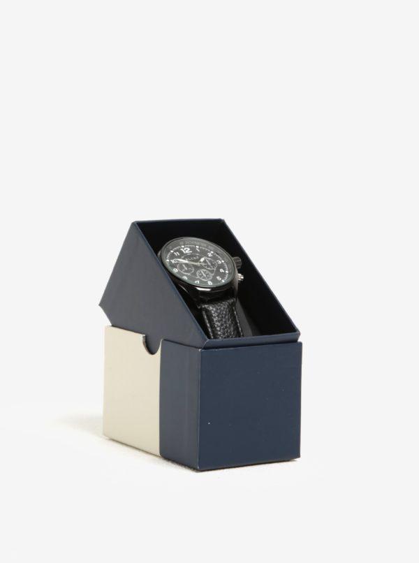 Čierne hodinky s koženkovým remienkom Blend