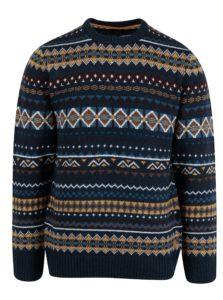 Tmavomodrý vzorovaný slim fit sveter s prímesou vlny Blend