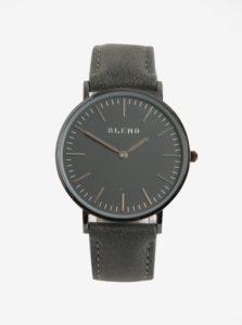 Sivé hodinky s koženkovým remienkom Blend