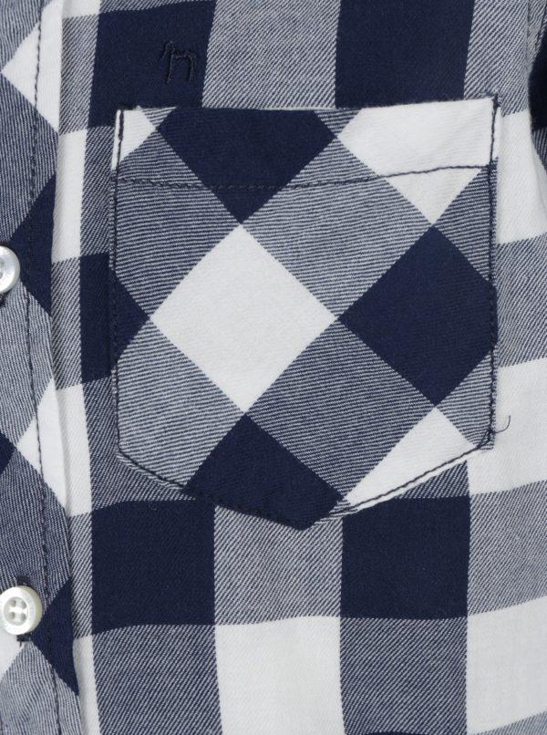 Modrá chlapčenská kockovaná košeľa s vreckom Mix´n Match