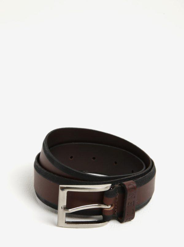 Čierno-hnedý kožený opasok Blend