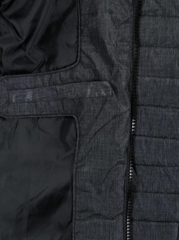 Tmavosivá prešívaná vesta s kapucňou Blend