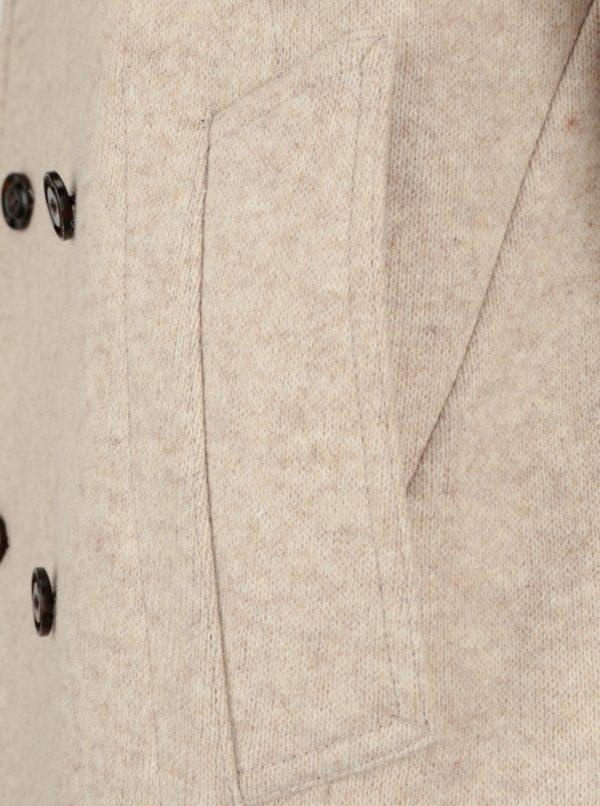 Béžový pánsky krátky vlnený kabát Tommy Hilfiger Jersey