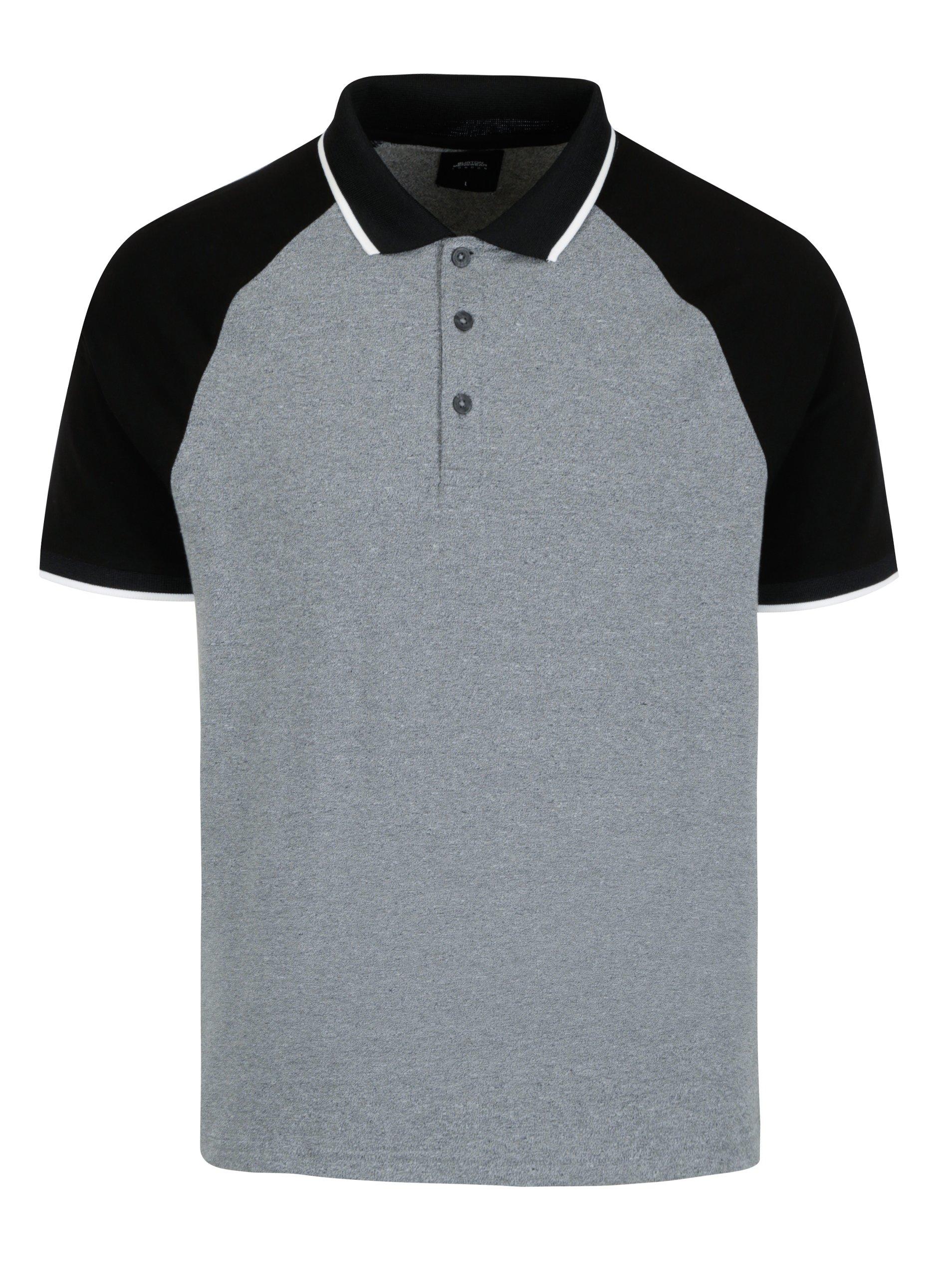 d1f6751cd597 Čierno-sivá melírovaná polokošeľa Burton Menswear London
