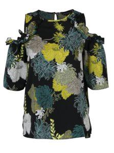 Čierna kvetovaná blúzka s prestrihmi na ramenách Dorothy Perkins
