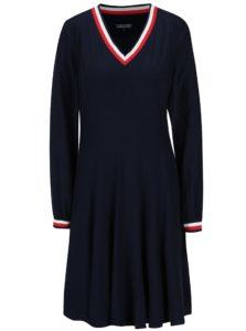 Tmavomodré šaty s dlhým rukávom Tommy Hilfiger