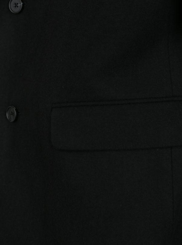Čierny vlnený kabát s vreckami Burton Menswear London