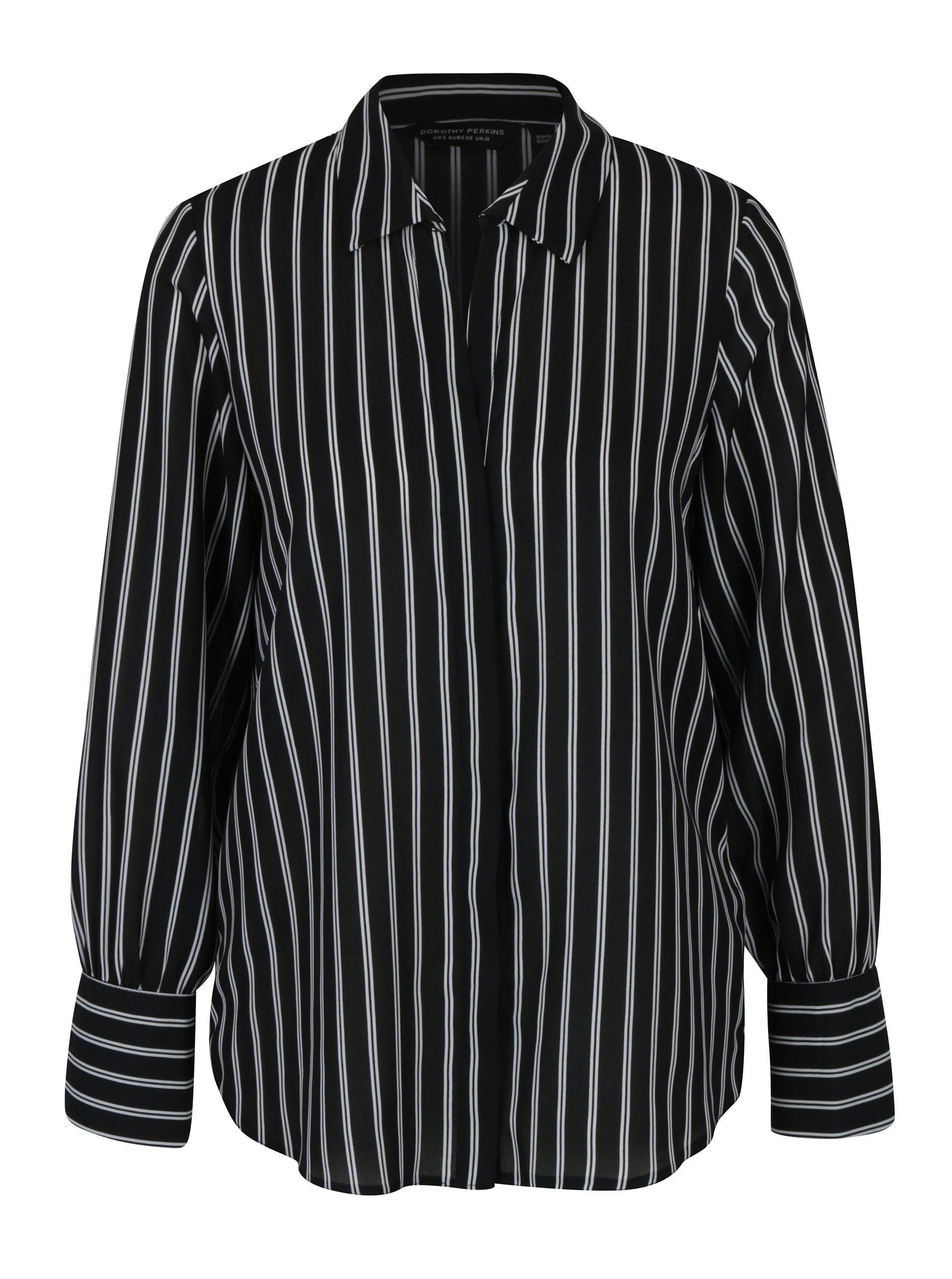 5ceec151d4e1 Čierno-biela pruhovaná košeľa Dorothy Perkins