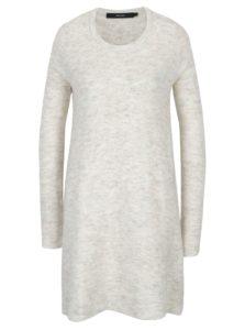 Krémové svetrové šaty s prímesou vlny VERO MODA Ginger