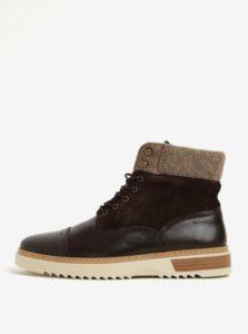 Tmavohnedé pánske kožené členkové topánky GANT Jean