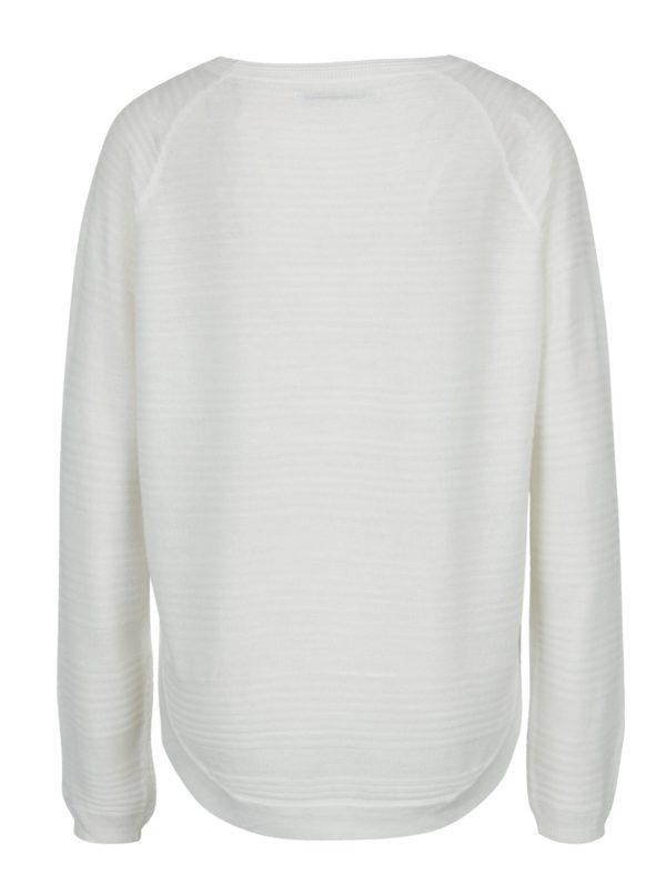 Biely tenký sveter s rozparkom na boku ONLY Caviar