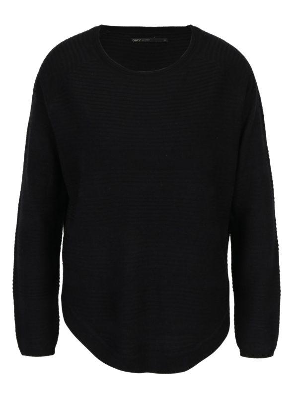 Čierny tenký sveter s rozparkom na boku ONLY Caviar