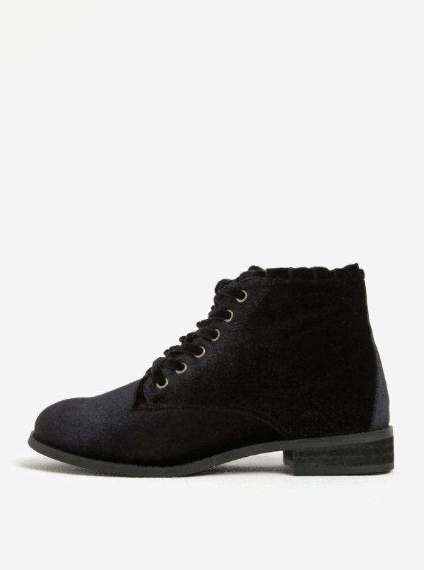 Čierne zamatové členkové topánky Dorothy Perkins