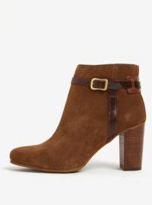Svetlohnedé dámske kožené členkové topánky na podpätku GANT