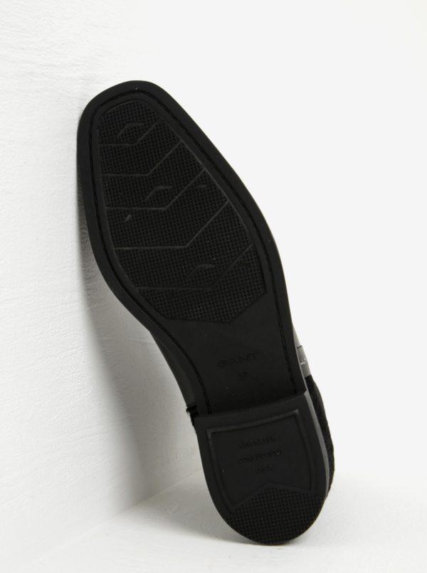 Čierne dámske kožené chelsea topánky s detailom na päte GANT Jennifer
