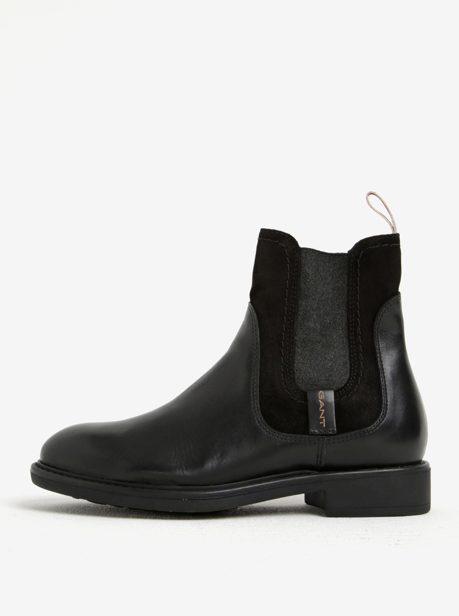 b643332323003 Čierne dámske kožené chelsea topánky so semišovým detailom GANT Lydia