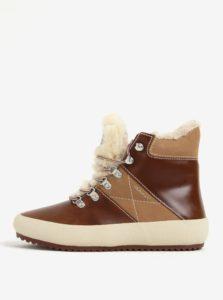 Hnedé dámske kožené zateplené členkové topánky GANT Amy