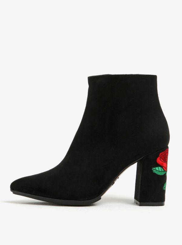 Čierne členkové topánky v semišovej úprave s výšivkou na podpätku OJJU