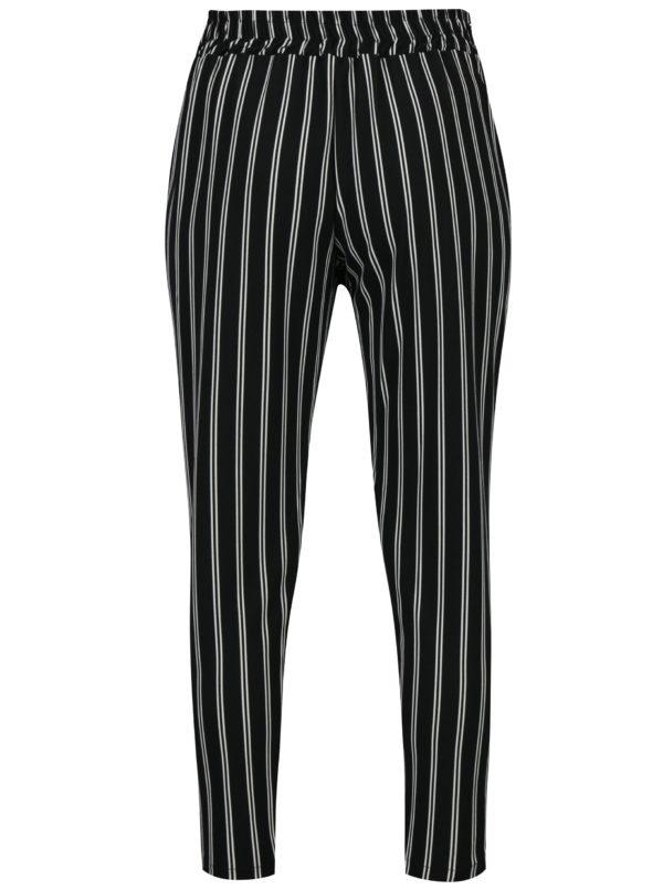 Bielo-čierne pruhované skrátené nohavice Haily's Emilia