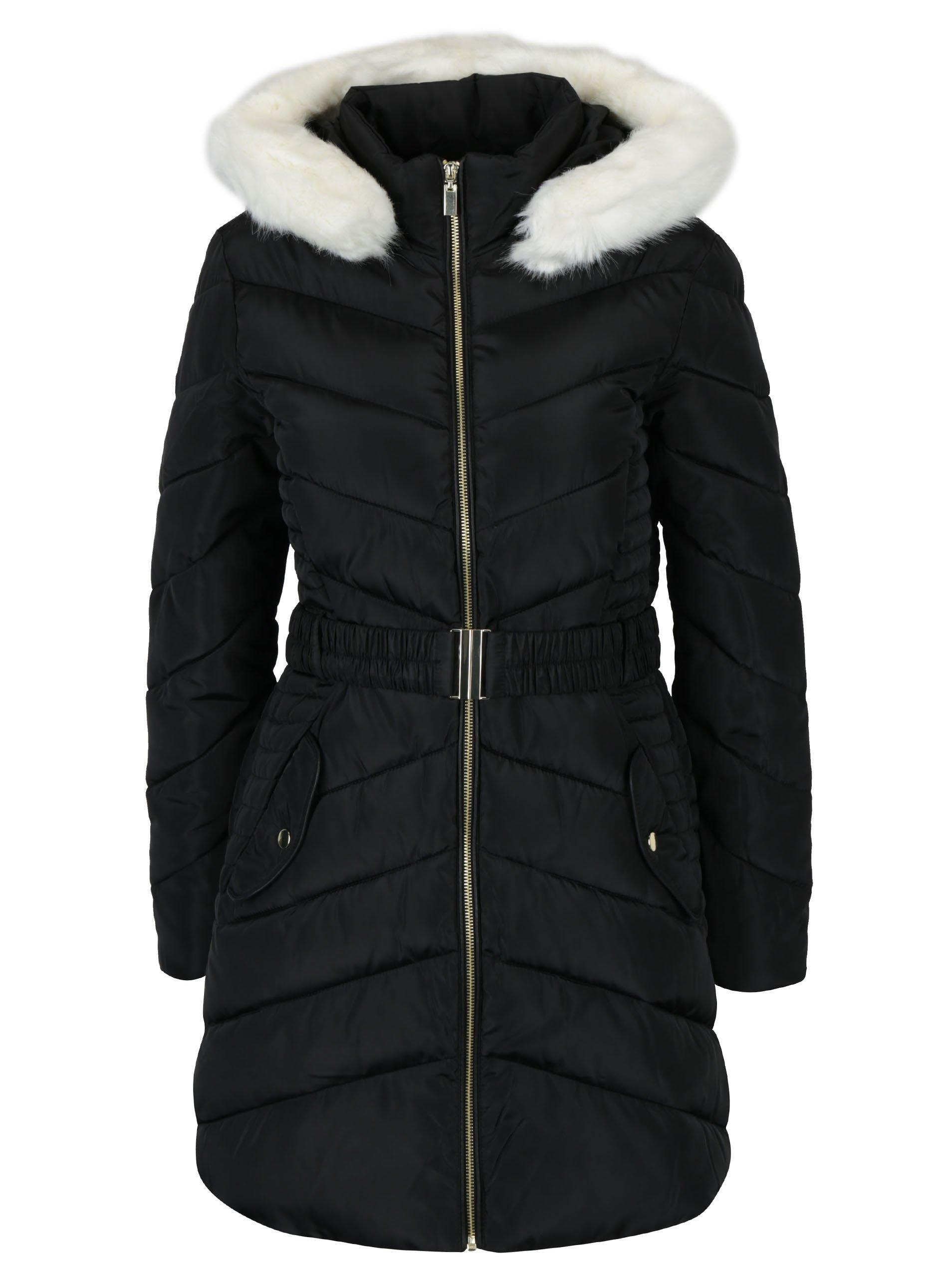 Čierny prešívaný kabát s kapucňou Dorothy Perkins  702be1231b9