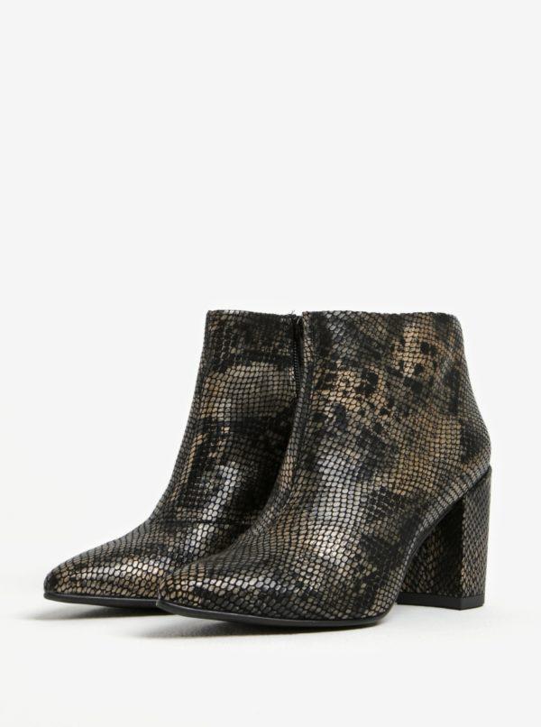 Čierne dámske kožené členkové vzorované topánky Vagabond Saida