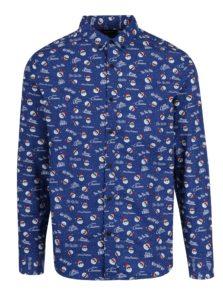 Modrá košeľa s vianočným motívom ONLY & SONS Owen Christmas