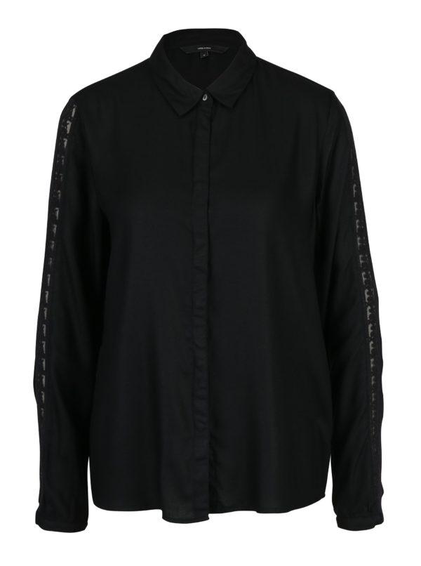 Čierna košeľa s čipkou na rukávoch VERO MODA Banja
