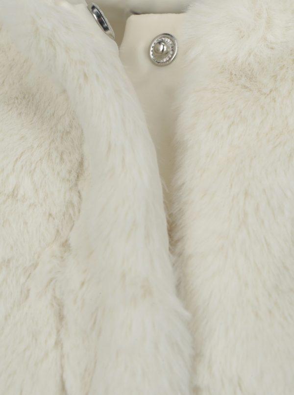 Krémový dievčenský kabát z umelej kožušiny Name it Wamma