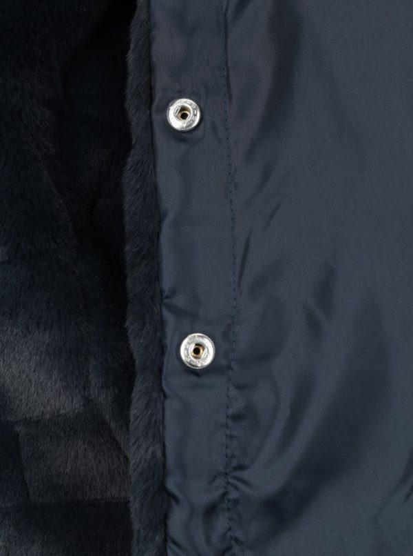 Tmavomodrý dievčenský kabát z umelej kožušiny Name it Wamma